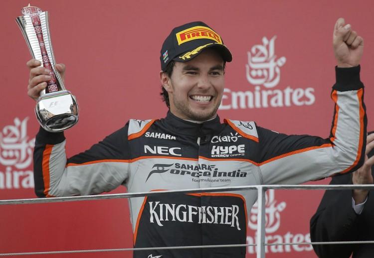 Sergio Pérez sobre ao pódio no GP da Europa (Maxim Shemetov/Reuters)
