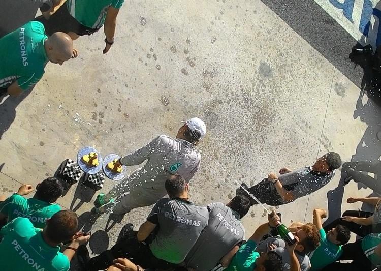 Nico Rosberg comemora a vitória no GP Brasil de 2014 (Daniel Médici/Arquivo  pessoal)